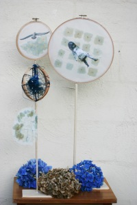 Embroidery hoops, wooden dowels and stands